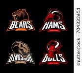 furious bear  ram  dinosaur and ... | Shutterstock .eps vector #704332651
