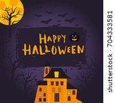 happy halloween poster design...   Shutterstock .eps vector #704333581