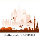 city airport illustration  city ... | Shutterstock .eps vector #704334361