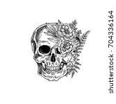 Vintage Botanical Skull...