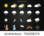 modern weather icons set. flat... | Shutterstock .eps vector #704338174