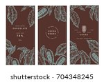 cocoa bean tree banner... | Shutterstock .eps vector #704348245