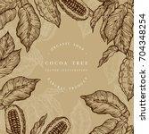 cocoa bean tree design template.... | Shutterstock .eps vector #704348254