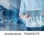 businessman plan graph growth... | Shutterstock . vector #704349175
