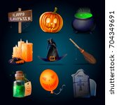 vector halloween icons isolated ... | Shutterstock .eps vector #704349691