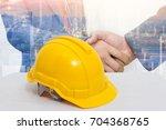 safety helmet stacked in ... | Shutterstock . vector #704368765