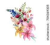 watercolor flowers bouquet | Shutterstock . vector #704369305