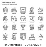 education  school square icon... | Shutterstock .eps vector #704370277
