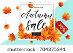 autumn sale flyer template with ... | Shutterstock .eps vector #704375341