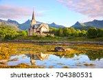 lofoten cathedral or vagan... | Shutterstock . vector #704380531