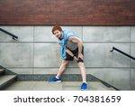 sport injury. injured runner ...   Shutterstock . vector #704381659