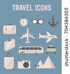 travel icon set | Shutterstock .eps vector #704384305