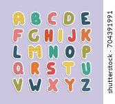 cartoon funny font. vector...   Shutterstock .eps vector #704391991