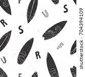 surf boards seamless pattern...   Shutterstock .eps vector #704394109