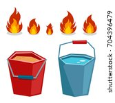 cartoon fire and bucket with... | Shutterstock .eps vector #704396479