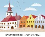 town. a square in the little... | Shutterstock .eps vector #70439782