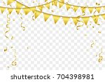 golden party flags with... | Shutterstock .eps vector #704398981