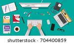 workplace of programmer or... | Shutterstock .eps vector #704400859