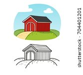 traditional red wooden barn.... | Shutterstock .eps vector #704401201