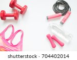 flat lay of healthy woman... | Shutterstock . vector #704402014