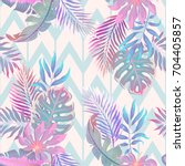 exotic leaves and flowers on... | Shutterstock .eps vector #704405857