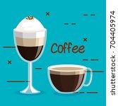 two glass coffee cups foam... | Shutterstock .eps vector #704405974