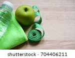 water  green apple  towel and