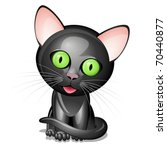 Little Black Cat Isolated On...
