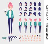 flat vector girl character for... | Shutterstock .eps vector #704413591