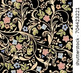 golden pattern with floral... | Shutterstock .eps vector #704423221