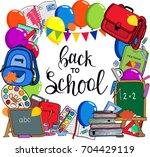 back to school postcard  banner ... | Shutterstock .eps vector #704429119