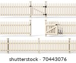 Set Of Wooden Fence Isolated O...