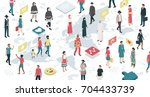 people from all over the world... | Shutterstock .eps vector #704433739