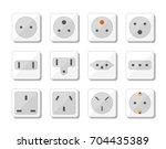 power socket icon set. world... | Shutterstock .eps vector #704435389