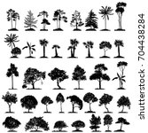 vector set of trees  hand drawn ... | Shutterstock .eps vector #704438284