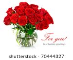 Stock photo bouquet of red roses isolated on white background 70444327