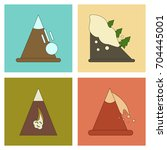 assembly flat icons mountains... | Shutterstock .eps vector #704445001