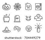 halloween icons set. linear... | Shutterstock .eps vector #704449279