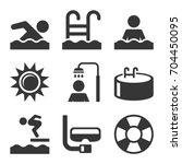 swimming pool icons set on... | Shutterstock . vector #704450095