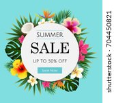 summer sale tropical banner | Shutterstock . vector #704450821