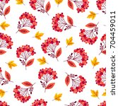 seamless pattern with autumn... | Shutterstock .eps vector #704459011