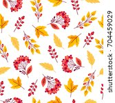 seamless pattern with autumn... | Shutterstock .eps vector #704459029