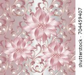 3d flowers seamless pattern.... | Shutterstock .eps vector #704459407