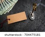 gold key opening a lock  blank ... | Shutterstock . vector #704475181