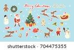 merry christmas set. santa...   Shutterstock .eps vector #704475355