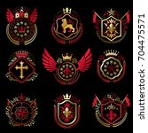 set of vector vintage emblems... | Shutterstock .eps vector #704475571