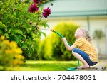 cute little girl watering...   Shutterstock . vector #704478031