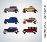 vintage cars cartoon sketch.... | Shutterstock .eps vector #704482411