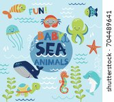 Stock vector sea baby animals vector set 704489641