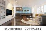 3d rendering modern living room | Shutterstock . vector #704491861